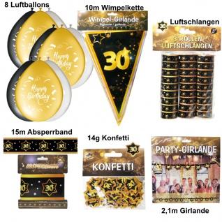 30. Geburtstag Großes Deko Set - 30 Jahre Deko Party Schwarz Gold Jubiläum Set1