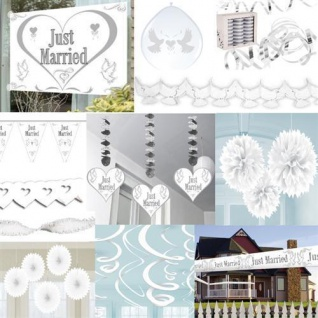 HOCHZEIT JUST MARRIED HERZ GIRLANDE PARTY DEKO LUFTBALLONS