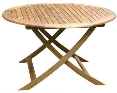 HOLZ KLAPPTISCH Ø 100 cm France Akazie Tisch Gartentisch Gartenmöbel