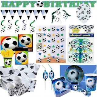 Fußball Party Deko Kinder Geburtstag, Teller Becher Tischdecken Kaskaden AUSWAHL