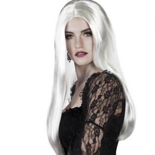 Hexen Perücke Langhaar weiß Damen Hexe Vamp Perrücke Halloween 6098