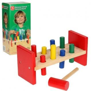 KLOPFBANK Klopfspiel Holz Kinder Motorik Spielzeug Hammerbank Holzspielzeug