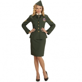 Armee Offizierin Militär Soldatin Gr. XL (46/48) Damen Kostüm Karneval Fasching
