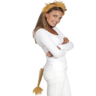 Löwen Set 2tlg. Haarreif und Schwanz - Tier Lion Löwe Kostüm-Set NEU