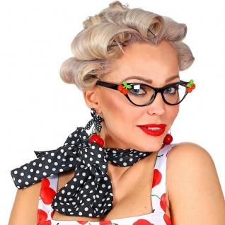 50er Fifties 3-tlg. Rockabilly Damen Kostüm Accessoires Brille Halstuch Ohrringe