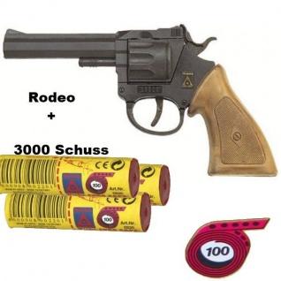 RODEO Western Knall-Pistole mit 3000 Schuß Munition Kinder Spielzeug Revolver