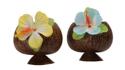 10 x HAWAIIBECHER halb Hawaii Becher Kokosnuss Choktail Party