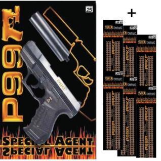 Special Agent P99 mit Schalldämpfer Knall-Pistole + 1200 Schuss Kinder Spielzeug