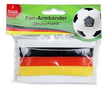 3er Armband Gummi Fußball Deutschland Fan Artikel Deko WM+EM Auswahl #200814