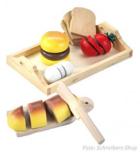 Kinder Küche Holztablett mit Mahlzeit Frühstück Kaufladen Holz Spielzeug #006