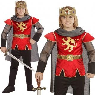 KÖNIG ARTHUR Mittelalter Jungen Kostüm Kinder - rot mit goldenem Löwen - Ritter