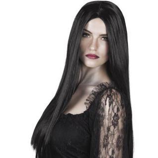 TOP Damen Perücke - Hexe Vampir Langhaar schwarz Halloween (085)