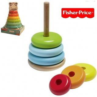 Fisher Price HOLZ FARBRING PYRAMIDE für Kinder ab 10 Monate Spielzeug #1218