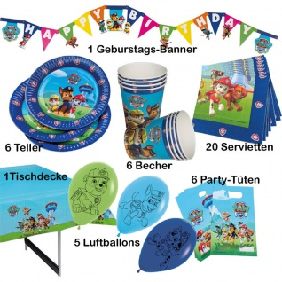 45 tlg. Party Set PAW PATROL Kinder Geburtstag Hunde-Polizei Party Deko (Tip)