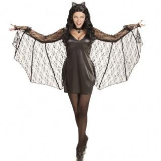 sexy FLEDERMAUS BAT Damen Kostüm S (34-36) Halloween Kleid mit Flügel und Ohren
