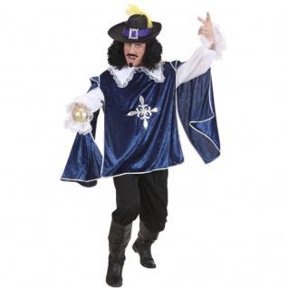 MUSKETIER Herren Kostüm -blau - Hemd + Kasack Karneval Fasching Verkleidung