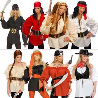 Piratenbluse Piraten Pirat Bluse Shirt Piratin Karneval Fasching Damen Kostüm