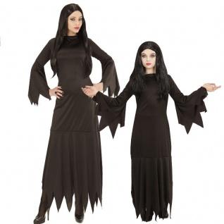 HEXE Zauberin Partnerkostüm Damen u. Mädchen Kostüm Mortisia Gothic Addams Kleid