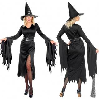 GOTHIC HEXE Damen Kostüm schwarzes Fetzen-Kleid mit Beinschlitz und Hexenhut #16