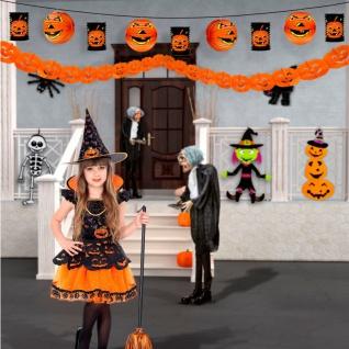 3-tlg. Deko-Set Kürbis Girlande, Kürbis Lampion und Laterne - Halloween Deko