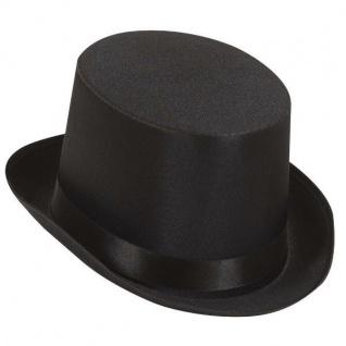 WOW Schwarzer Zylinder Hut aus Satin NEU - exclusives Modell Hochzeit JGA