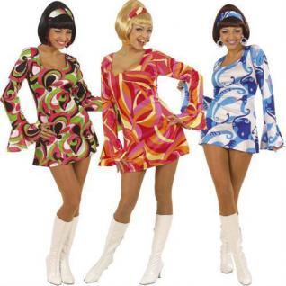 Sexy Damen Kostüm 70er Jahre Lady Kleid Hippie Flower Power Mottoparty S M L