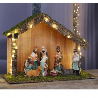 Weihnachtskrippe Krippe mit 9 Figuren beleuchtet 30 LED Holz Stall 40x16x25cm