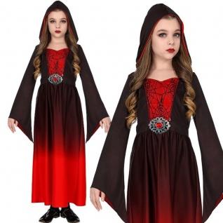 Mittelalter Kostüm Kinder Gothic KLEID MIT KAPUZE - Gr. 128 Mädchen Vampir #4746
