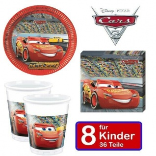 Disney CARS Kinder Geburtstag Party - Teller Becher Servietten - für 8 Kinder