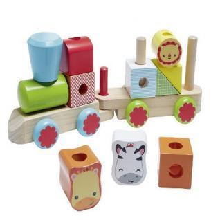 Fisher-Price Eisenbahn Bauklötze Bausteine Holz bunt Spielzeug Happy People #217