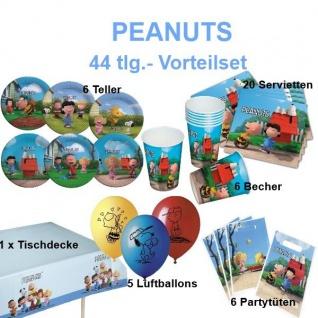 44 tlg. Party Set PEANUTS Kinder Geburtstag Snoopy Chartie Braun Party Deko