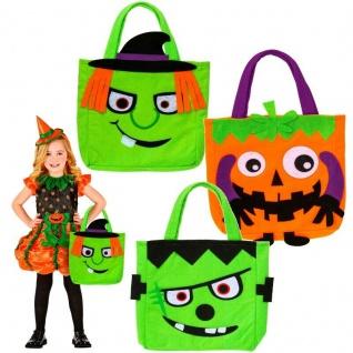 HALLOWEEN BETTELTASCHE - Kürbis Monster Hexe - Kinder Kostüm Tasche Beutel