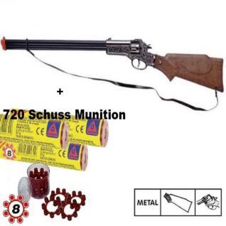 RAPID FIRE Western Metall Gewehr + 720 Schuss Munition Kinder Spielzeug Cowboy