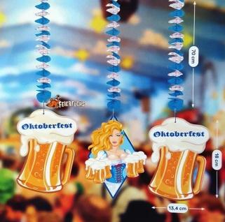 3er Set Swirl Decken-Hänger Oktoberfest Bayern Bierkrug - blau weiss Deko #491