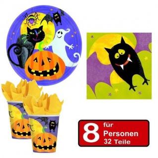 32 tlg. Halloween Party Set GRUESOME Teller Becher Servietten für 8 Personen