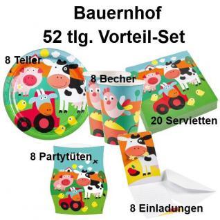 52 tlg. Vorteil-Set Bauernhof Tiere Kinder Geburtstag Party Deko - Teller Becher