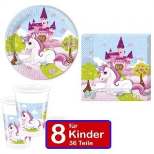Partyset EINHORN Teller Becher Servietten für 8 Kinder Kindergeburtstag 36 Teile