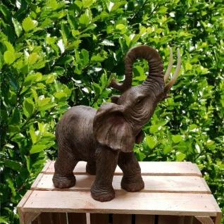 Gartenfigur Elefant ca. 30cm stehend Haus Garten Deko lebensecht Figur 3404