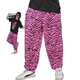 Jogginghose 80er 90er Traningshose pink-schwarz zebra Größe: M/L, L/XL Kostüm