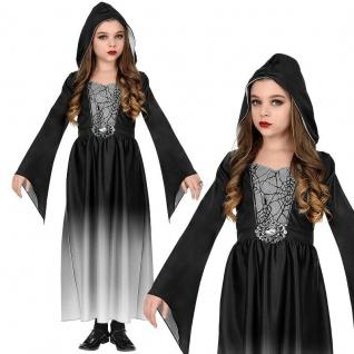 Mittelalter Kostüm Kinder Gothic KLEID MIT KAPUZE - Gr. 140 Mädchen Vampir #4807