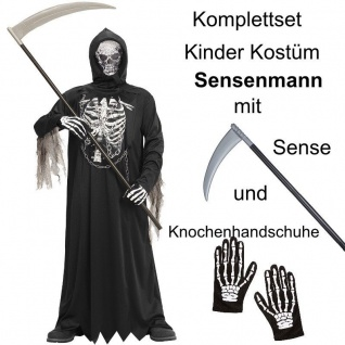 TOP SET Kinder Kostüm Gr. 128 SENSENMANN TOD + Sense + Handschuhe Halloween #676