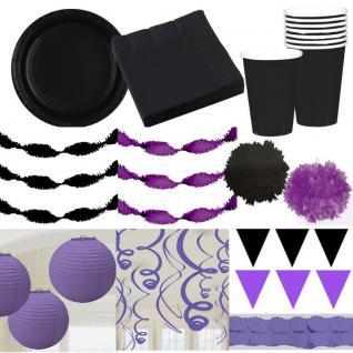 Party Deko in der Farbe - LILA / SCHWARZ - Teller Laterne Wimpel Girlande Pompom