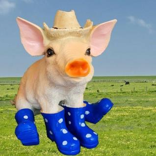Gartenfigur Schwein Ferkel mit Hut und blaue Stiefel 10552 Haus Garten Deko NEU