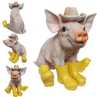 Schwein Ferkel mit gelben Gummistiefel und Hut Garten Deko Figur Sau Tierfigur