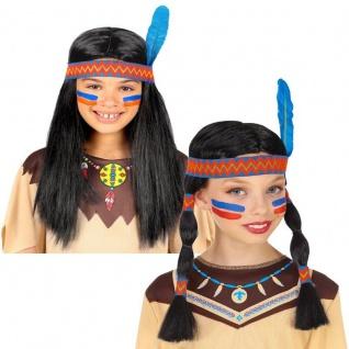 Indianer Perücke mit Stirnband und Feder für Mädchen oder Jungen Kinder Perrücke