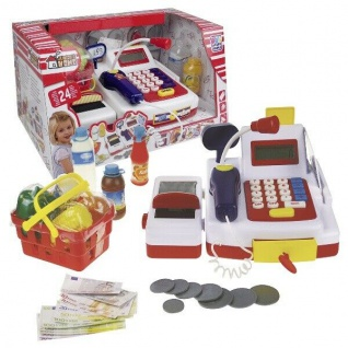 Kinder Spiel-Kasse Registrierkasse+Scanner Kinderkasse Spielkasse Spielgeld #055