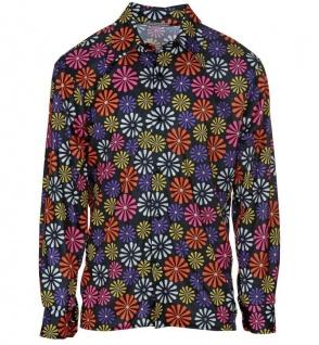 70er buntes Hippie Hemd Blumenhemd Herren Hemd Flower Power Outfit #1007
