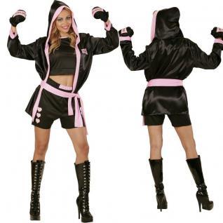 Boxerin Boxer Girl - Damen Kostüm Set: Oberteil, Shorts, Mantel, Boxhandschuhe