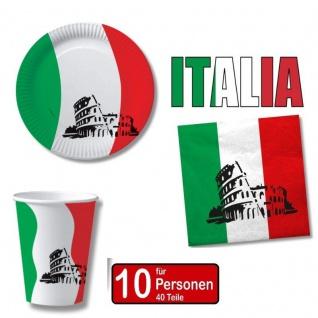 ITALIEN ITALIA 40 tlg. Länder Deko Party Set - Becher Servietten Teller -