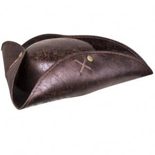 Piraten-Hut braun Pirat Dreispitz Kapitän Seeräuber-Mütze Leder-Imitat #1940